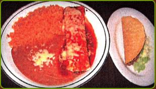Combo 18, Burrito, taco, rice & beans