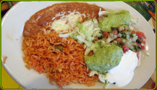 Fajita rice, beans & extra, plate