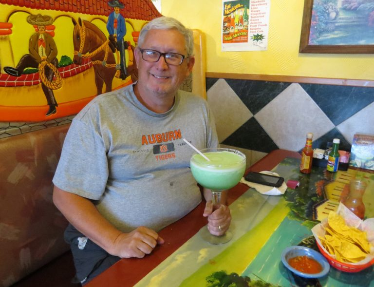 Customer with Jumbo frozen margarita